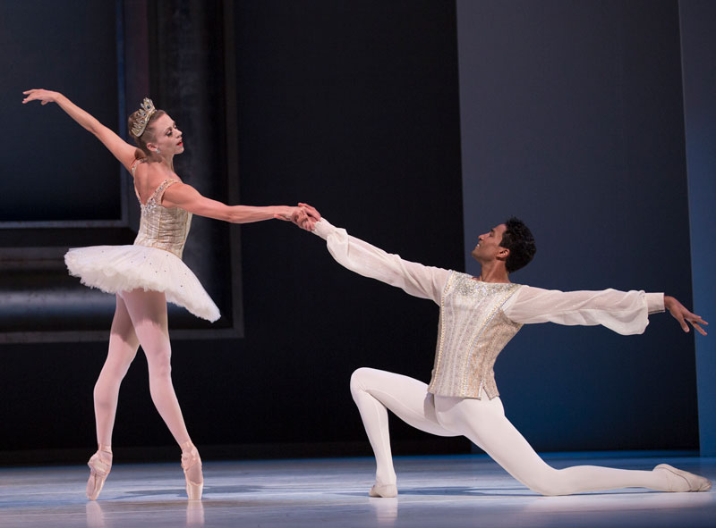 Pacific Northwest Ballet principal dancer Lesley Rausch and former PNB principal Karel Cruz in the pas de deux from Diamonds, choreography by George Balanchine © The George Balanchine Trust. Photo © Angela Sterling
